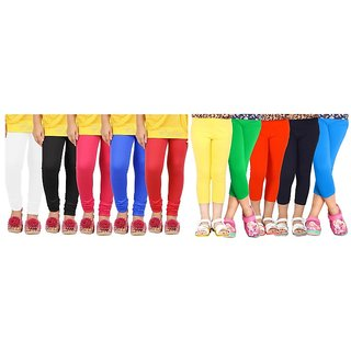 Combo - Pack of 10 Kids Girls Plain Legging n Plain Capri ( 5 Plain Legging n 5 Plain Capri)-WS