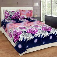 Living Creation Designer Printed Double Bedsheet with 2 Pillow Cover