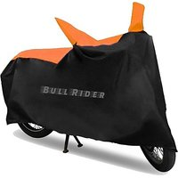 Bull Rider Bike Body Cover - Black and Orange (1x1 Material) - Water Resistant for Two wheeler upto 150CC-WS