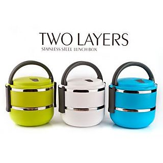 Two Layers of Stainless Steel Lunch Box Handle Containers-WS