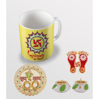 Sky Trends Shubh Deepawali Swastik Ganesh Unique Gifts For Diwali Gifts Coffee Mug With Thali ,Charan Paduka And Diye Set