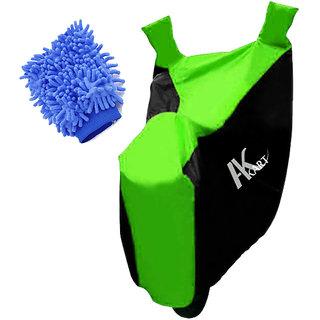 Ak Kart Black  Green Bike Body Cover With Microfiber Vehicle Washing Hand Cloth For TVS Phoenix