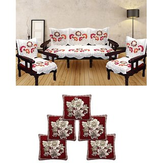 SNS combo of floral poly cotton sofa cover with cushion covers