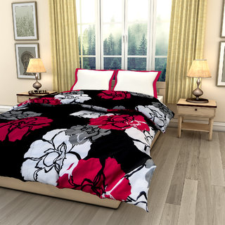 eCraftIndia Maroon Floral Printed Double Bed Reversible AC Comforter