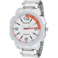 Howdy Analog White Dial Stainless Steel Strap Watch For Men's Ss501