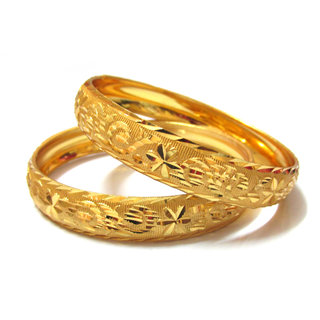 Rabbi Gold-plated 2pc Kaveri Bangles Set kada bracelet (size 2.4)( BNGP2KAVER4)