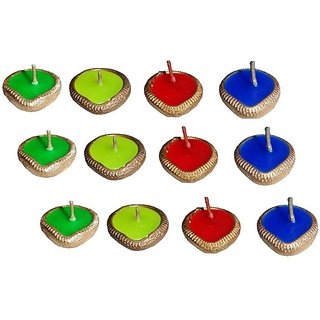 Atorakushon Multicolor designer earthen dia candle mati dipak for diwali-Pack of 12