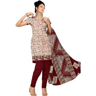 Khushali Presents Printed Cotton Straight Unstitched Dress Material(Beige,Maroon) ATKS102RED