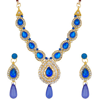 The Luxor Gold Plated  Australian Diamond Studded Daily Wear Blue Colored Necklace Set NK-1914