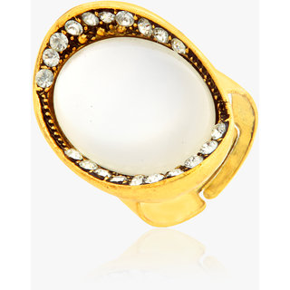 Oh Flossy Antique Gold Plated Cocktail Ring With Pearl Stone-1065JEWL0216