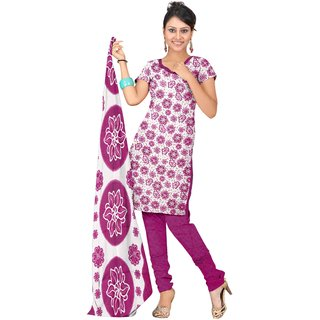 Khushali Presents Printed Crepe Chudidar Unstitched Dress Material(White,Pink) ATLS127PINK