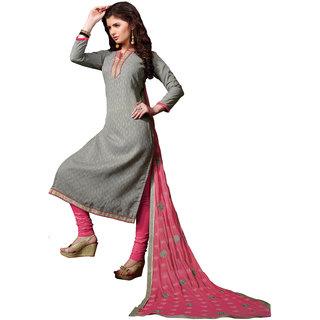 Khushali Presents Embroidered Lakda Jacquard Dress Material(Grey,Pink) BRCIR31004
