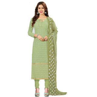 Khushali Presents Embroidered Georgette Dress Material(Pista Green) BRCRHI41002