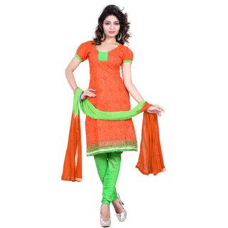 Khushali Presents Chanderi Chudidar Unstitched Salwar Suit dresss material (Orange) LSAH108