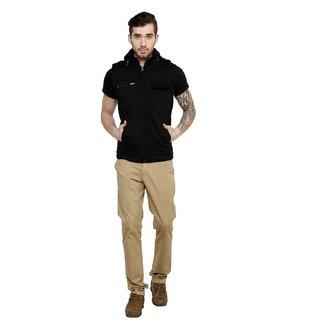 Cotton County Black Sleeveless Jacket for Men