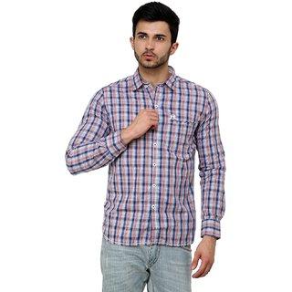 Cotton County Orange Checks Shirt for Men