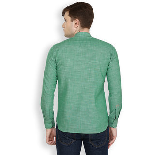 Cotton County Green Solid/Plain Shirt for Men