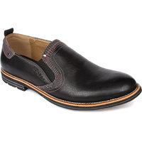 Spunk Men'S Black Slip-On Casual Shoes