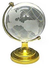 only4you Crystal World Globe for Feng Shui Vaastu Gift Paperweight Gold Stand Showpiece