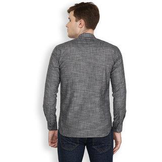 Cotton County Grey Solid/Plain Shirt for Men