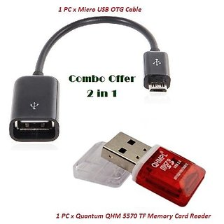 Combo 2 in 1 Set Micro USB OTG Cable with QHM 5570 TF Memory Card Reader