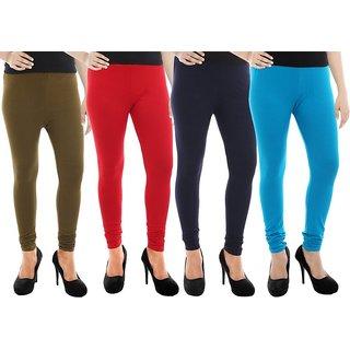Paulzi Women's Green, Red, Blue, Blue Leggings (Pack of 4) PZLegGreen-Red-Blue-Blue92