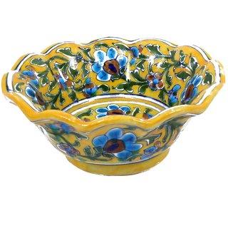 Creative Craft Handmade Blue Pottery Serving BOWL Home Decorative Handicraft Gift