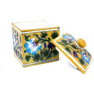 Handmade Blue Pottery Jewellery BOX Home Decorative Handicraft Gift