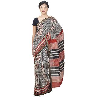 Indrashree Sarees Block Prints With Vegetable Dye,Zari Border-Black,Maroon Color Maheshwari Saree With Unstitched Blouse
