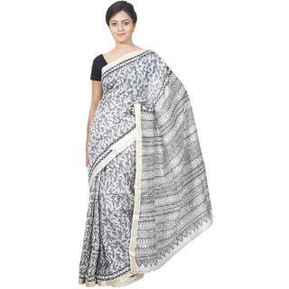 Indrashree Sarees Block Printed With Zari Border - Grey Color Designer Maheshwari Saree With Unstitched Blouse