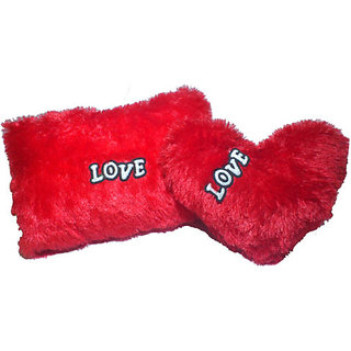 Set of 2 Heart Shape Love Soft Cushion Pillow Teddy Bear Valentine Love Gift