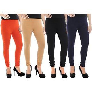 Paulzi Women's Orange, Beige, Black, Blue Leggings (Pack of 4) PZLEGOrange-Beige-Black-Blue464