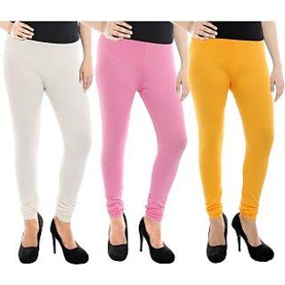 Paulzi Women's White, Pink, Yellow Leggings (Pack of 3) PZLEGWhite-Pink-Yellow388