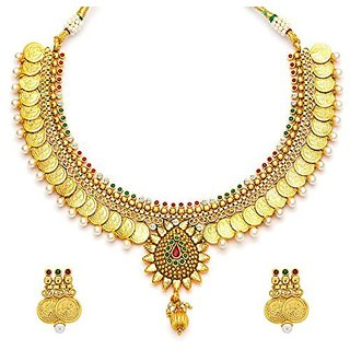 adc313eb17a Buy YouBella Traditional Gold Plated Temple Coin Necklace Set with Earrings  for Girls and Women-YBNK5047 Online - Get 63% Off