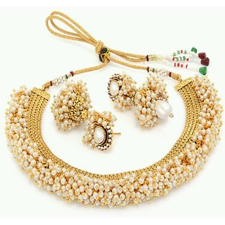 YouBella Traditional Jewellery Pearl Studded Necklace Set with Earrings  for Girls and Women