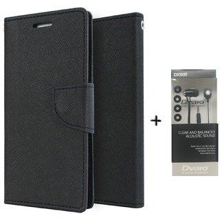 HTC Desire 626 Mercury Wallet Flip Cover Case (BLACK) WITH CLEAR EARPHONE
