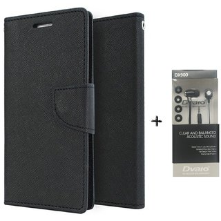 Lenovo A5000 Mercury Wallet Flip Cover Case (BLACK) WITH CLEAR EARPHONE
