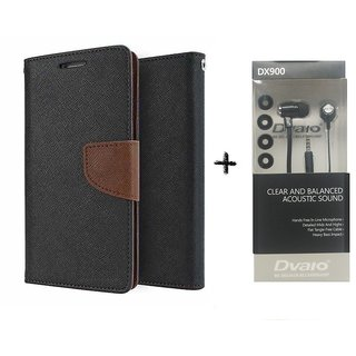 Lenovo A7000 Mercury Wallet Flip Cover Case (BROWN) WITH CLEAR EARPHONE