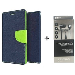 Micromax Canvas Xpress 2 E313 Mercury Wallet Flip Cover Case (BLUE) WITH CLEAR EARPHONE