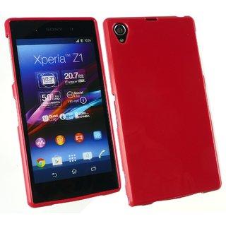 Emartbuy Phone Sony Xperia Z1 Case Gloss Gel Red Plain