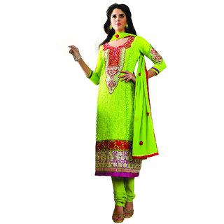 Fabdeal Lemon Green Colored Georgette Embroidered Salwar Kameez FZODR1709KLF