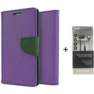 Micromax Bolt D320 Mercury Wallet Flip Cover Case (PURPLE) WITH CLEAR EARPHONE