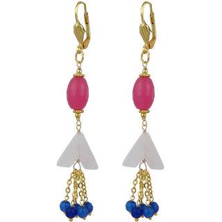 Pearlz Ocean Marvelous Jade and  Rose Quartz Beads Earrings for Women