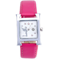 Shostopper Pink Lady White Dial Analogue Watch For Wome