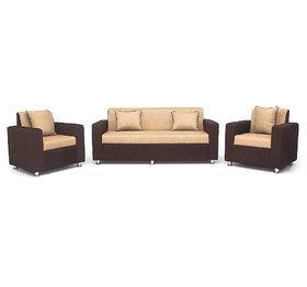Bharat Lifestyle - Tulip Brown  Cream Colour Fabric 5 Seatar Sofa Set (3+1+1)