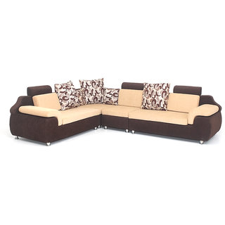 Bharat Lifestyle   L Corner Brown Cream Colour 6 Seatar Sofa Set With  Attractive Cushion