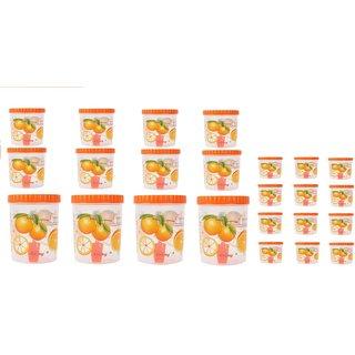 Stylobby - 2000 ml-4, 1100 ml-4, 1000 ml-4,250 ml-12,Storage Container (Pack of 24, Orange)
