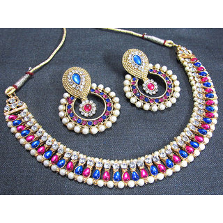 Pink and Blue Stone Pearl Polki Necklace Set