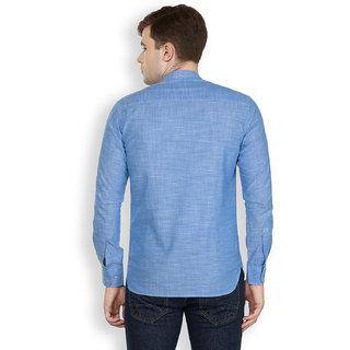 Cotton County Blue Solid/Plain Shirt for Men