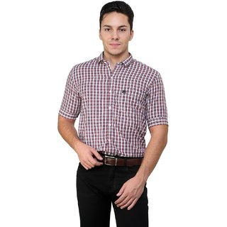 Cotton County White Checks Shirt for Men